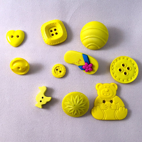 Assorted Yellow Shape Buttons