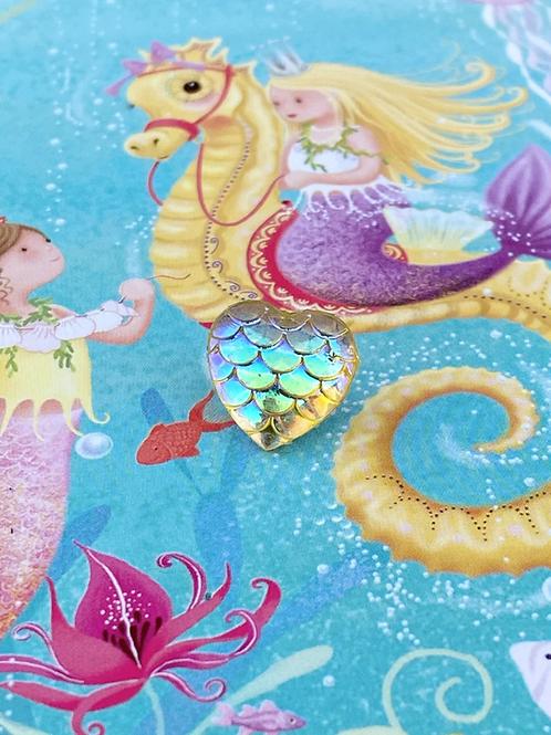 Yellow Mermaid Heart - Pin Badge