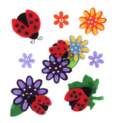 Ladybird & Flower Embellishments