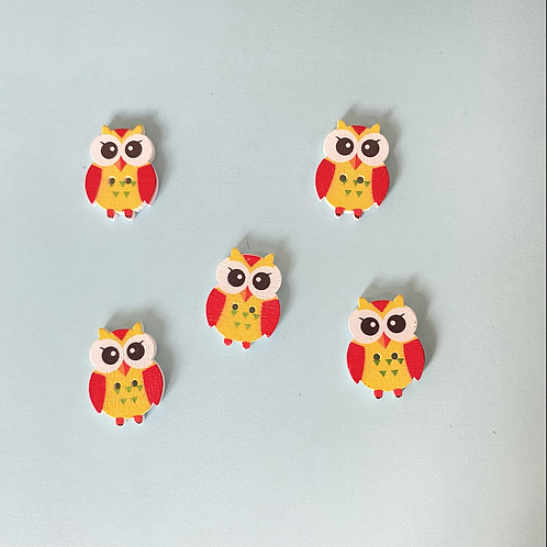 Pack of 5 Owl Buttons - Yellow & Red