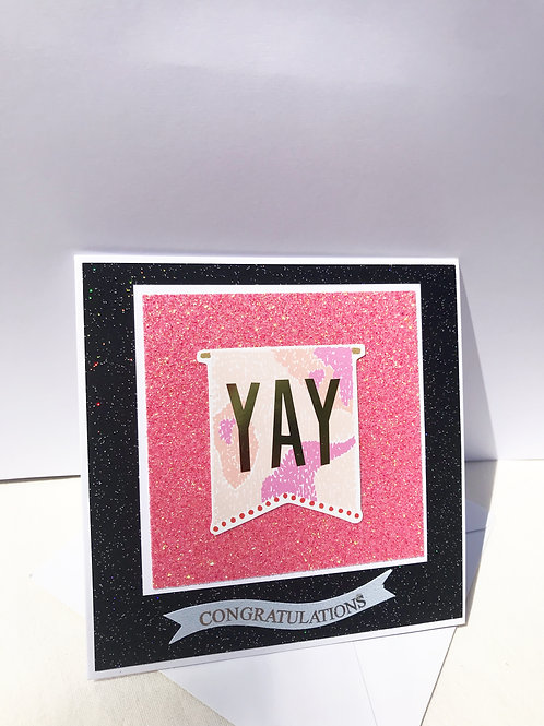 Yay Pink and Black Congratulations Card