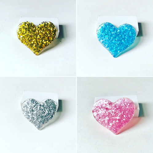 Glitter Heart Pin Badge