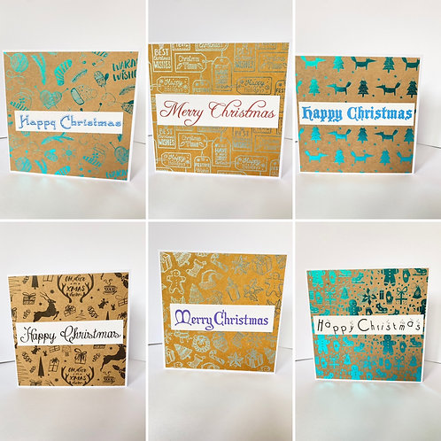 Patterned Christmas Cards - Pack of 6