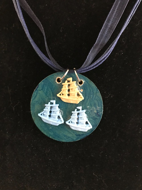 Beside the Sea - Three Ships Necklace