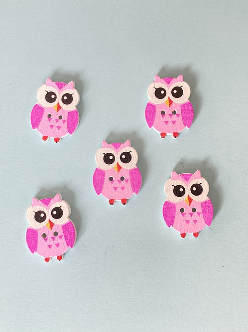 Pack of 5 Owl Buttons - Pink