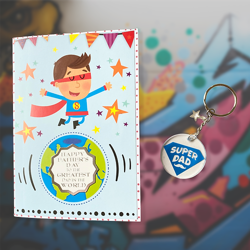 Father's Day Super Dad Card and Keyring Bundle - Special Offer