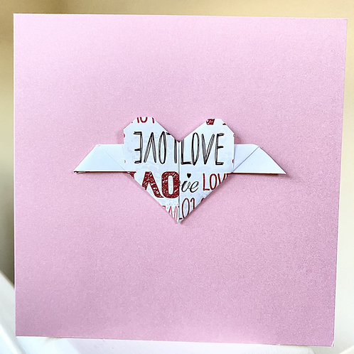 Pink Origami Wing Heart Card