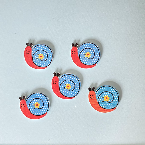 Snail Buttons - Red & Blue