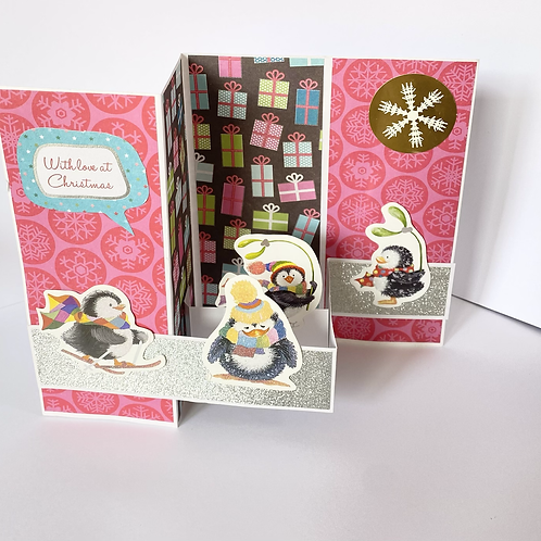 Penguins 3D Pop up Christmas Card