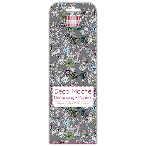 First Edition Deco Mache - Grey Ditsy Florals