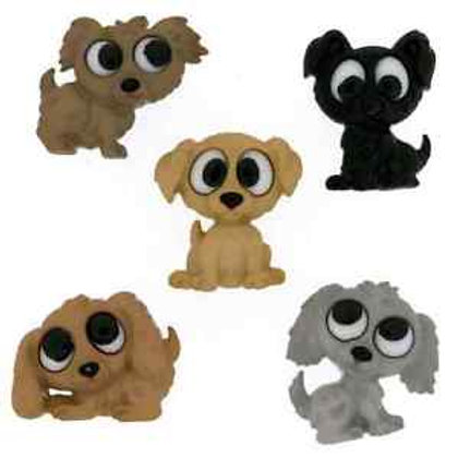 Dress It Up buttons - Playful Puppies