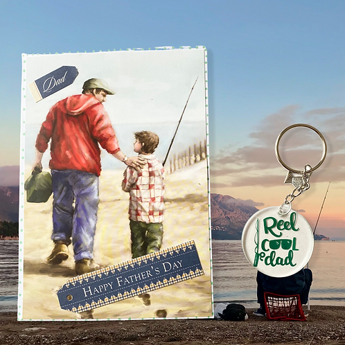 Father's Day Fishing Card and Keyring Bundle - Special Offer