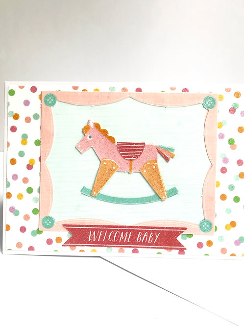 Welcome Baby Rocking Horse Card