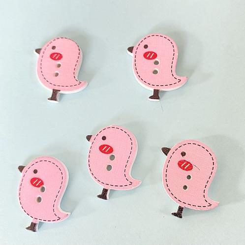 Pink Bird Buttons