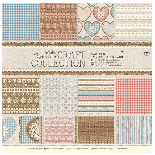 Docrafts Papermania Craft Collection Pastels 12 x12 Paper Pack