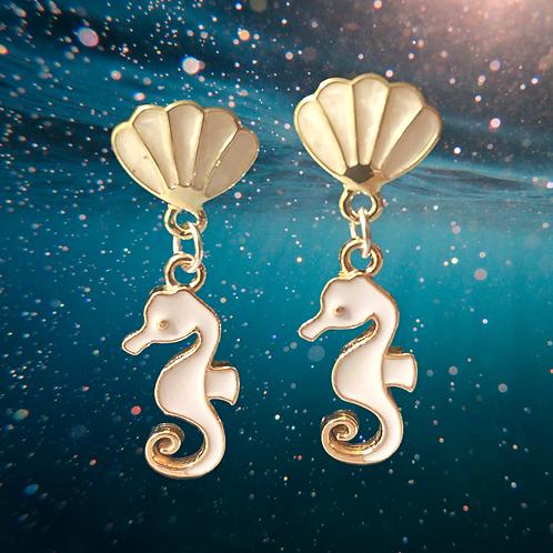 White Seahorse Earrings