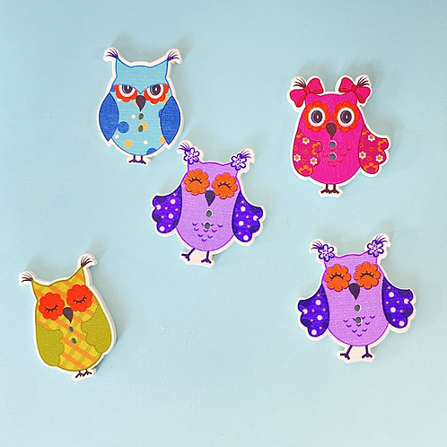 Assorted Wooden Owl Buttons
