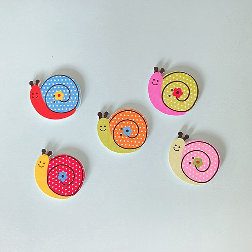 Snail Buttons - Mixed Colours