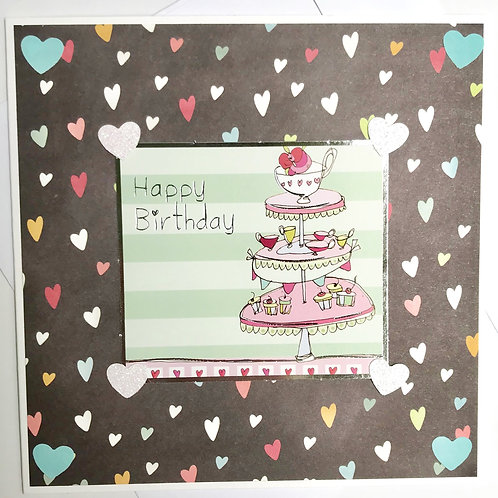 Happy Birthday Afternoon Tea Hearts Card