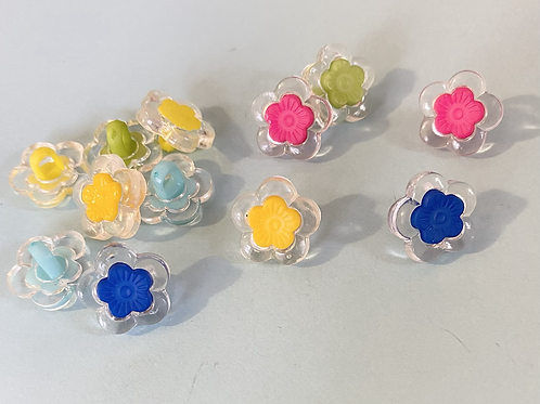 Clear and Colourful Flower Buttons