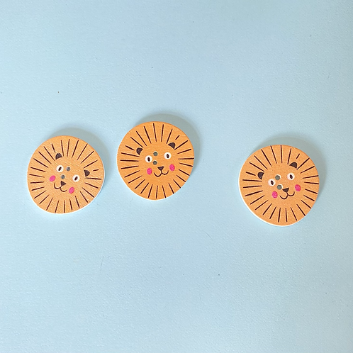 Wooden Lion Face Buttons