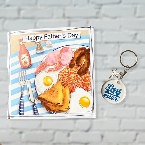 Father's Day Breakfast Card and Best Dad Keyring Bundle - Special Offer
