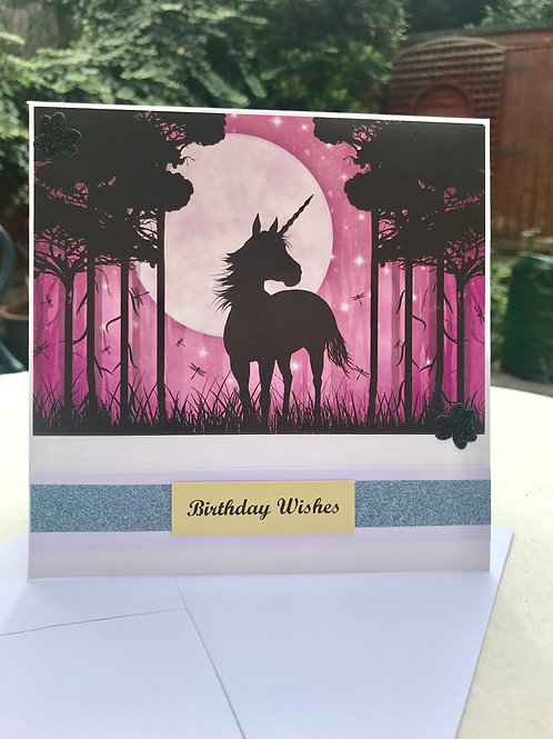 Pink Twilight Forest Unicorn Birthday Card