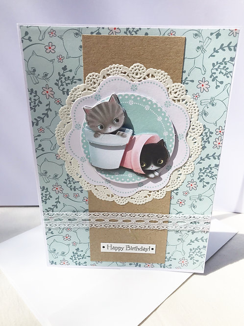 Flower Pot Kitties Birthday Card