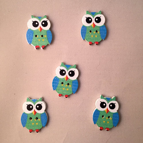 Pack of 5 Owl Buttons - Blue & Green