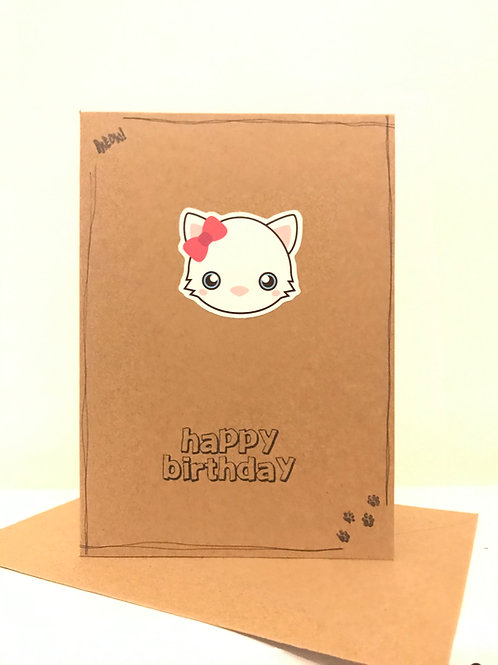 Happy Birthday Card - Cutey Cat