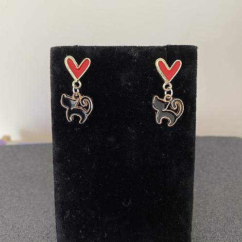 Black Cat Love Stud Earrings