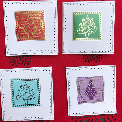 Metallic Trees Christmas Cards (Pack of 4)