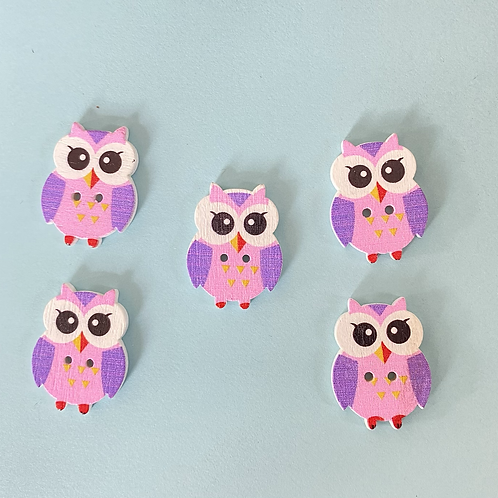 Pack of 5 Owl Buttons - Pink & Purple