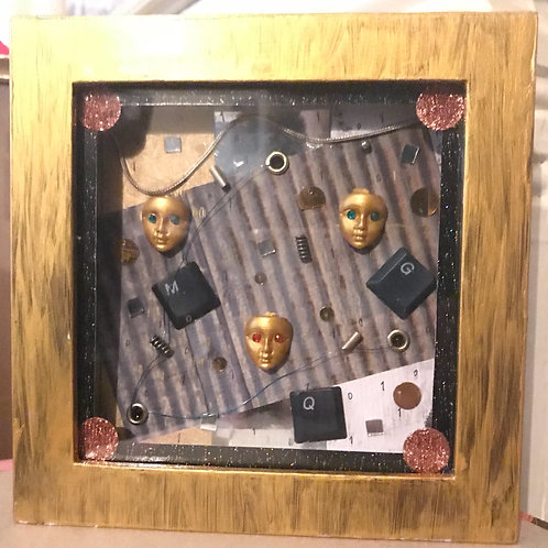 Gold Futuristic Android Mixed Media Framed Art