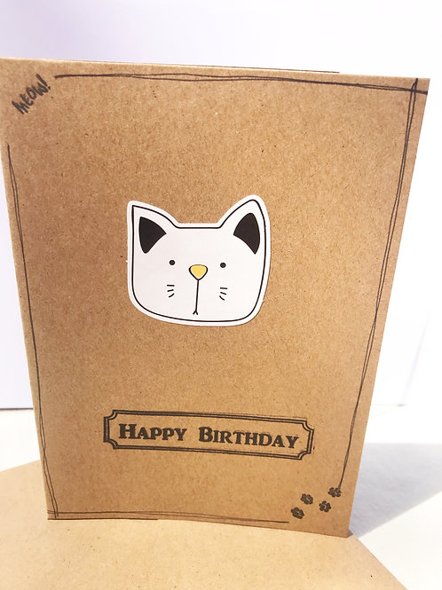 Happy Birthday Card - Yellow Nose Cat