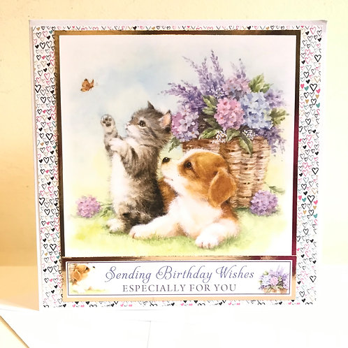 Kitten & Puppy Birthday Card