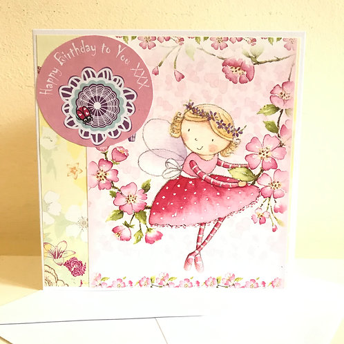 Pretty pink flower fairy birthday card