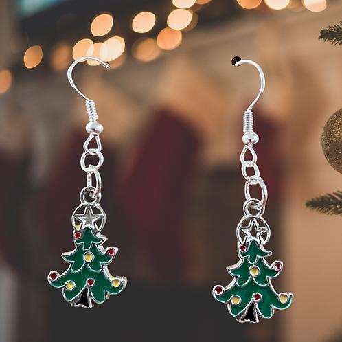 Fancy Tree Christmas Earrings