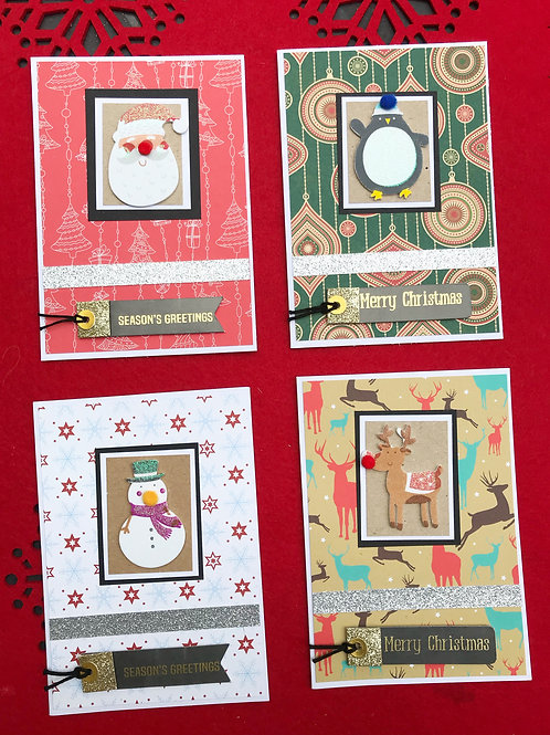 Cute Christmas Character Cards (Pack of 4)