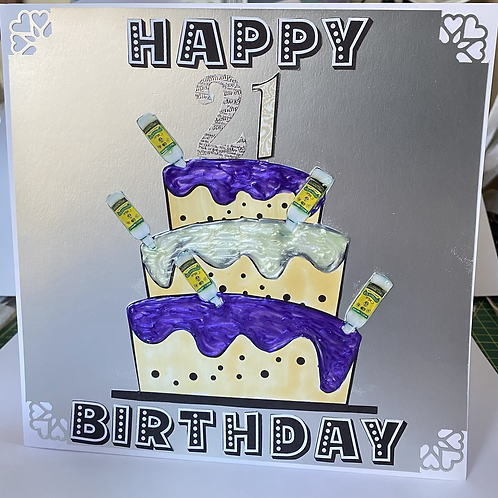 21st Birthday Card - cake with rum bottles