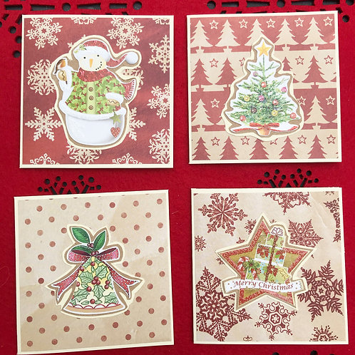 Retro Style Christmas Cards (Pack of 4)