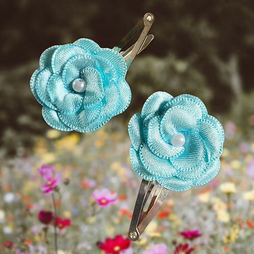 Turquoise Pearl Flower Hair Clips