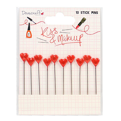 Dovecraft Kiss & Makeup Heart Stick Pins