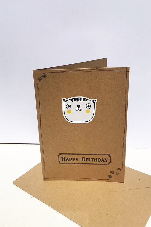 Happy Birthday Card - Pudge Cat