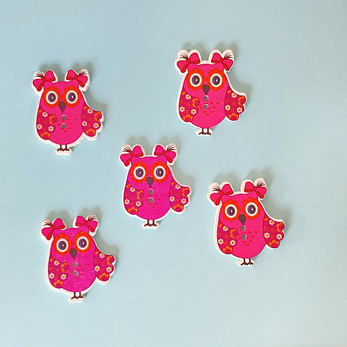 Pink Wooden Owl Buttons