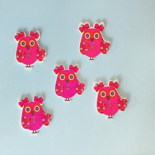 Pink Wooden Owl Buttons