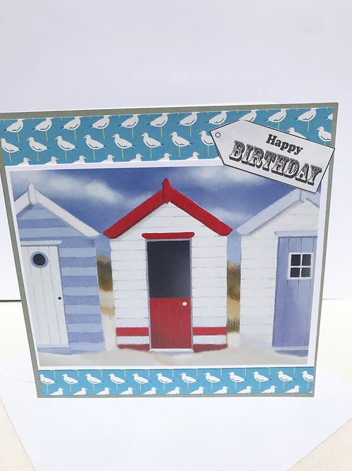 Happy Birthday Beach Huts Card