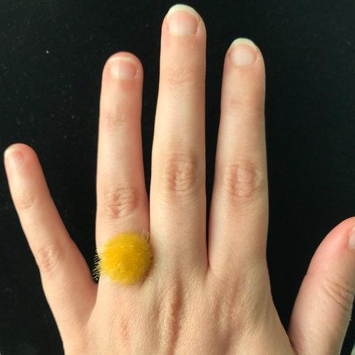 Yellow Furry Adjustable ring