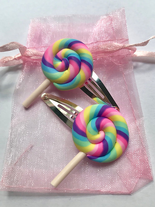 Lollipop Swirl Hair Clips