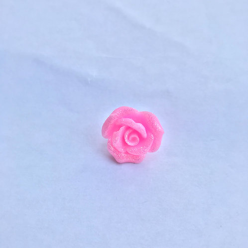 Pink Glitter Rose - Pin Badge